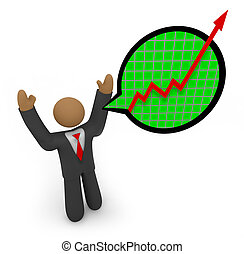 Predicting Major Growth - Businessman Speech Bubble - A...