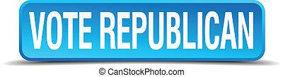 Vote republican blue 3d realistic square isolated button
