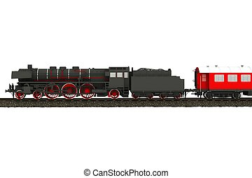 Steam Train Illustration Isolated on White. Aged Steam...