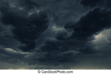 Stormy Weather - Heavy Dark Storm Cloud and the Falling...