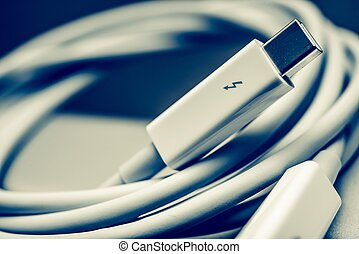 Thunderbolt Cable - White Thunderbolt Cable Closeup Photo...