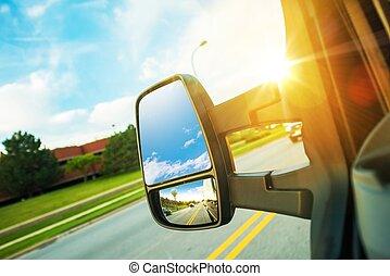 Cargo Van Driving Concept. Large Cargo Van Mirror. Van in...