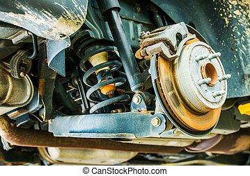coche, suspensión, frenos