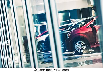 Car Dealer Window Shopping. Dealer Cars Stock. Showroom...