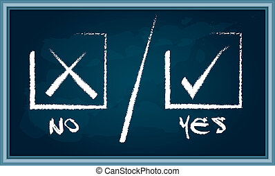 Yes or No sign on chalkboard