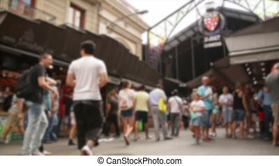 Blurred crowded Market Barcelona - Time lapse crowd shopping...