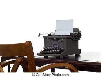 Writers desk - Old, antique, vintage, typewriter on desk...