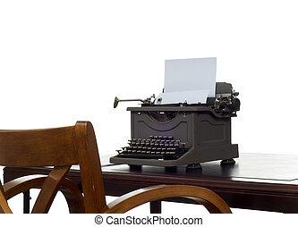 Writer\'s desk - Old, antique, vintage, typewriter on desk...