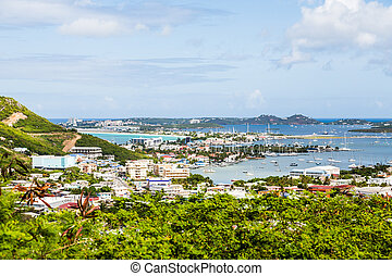 View of Bay on St Martin from Hill - A view of bay on St...