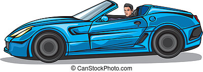 Man in blue cabriolet - Vector illustration of a man in blue...