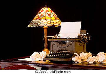 Writer\'s Block - Old, vintage, antique, typewriter in...