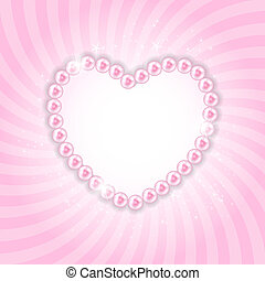 Pearl Heart Vector Illustration Background - Pink Pearl...
