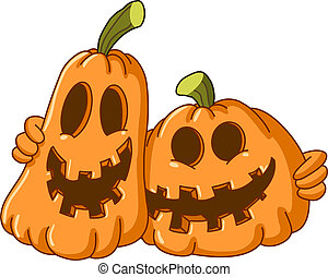 Hugging pumpkins - Two pumpkins hugging each other