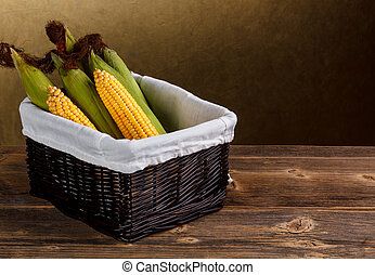 Corn in basket