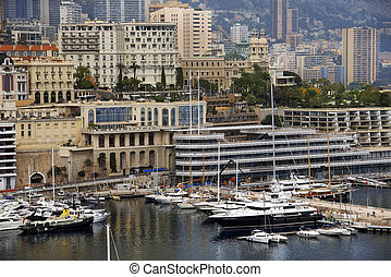 Bay of Monaco and view over Monte Carlo - Luxury boats in...