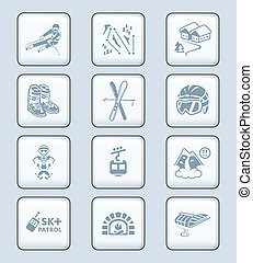 Skiing resort icons    TECH series