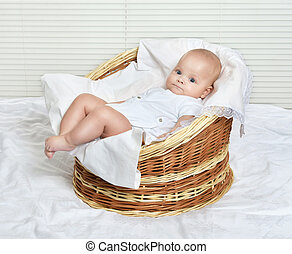 baby in the basket - Portrait of cute baby in the basket