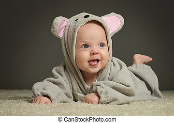 baby in mouse costume - Portrait of smiling cute baby in...