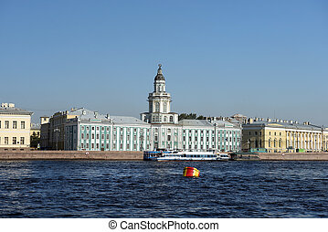 View of the Kunstkammer across the Neva river, St...