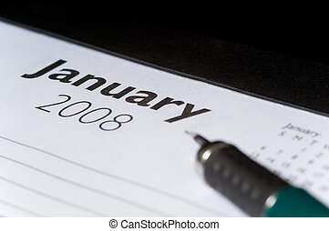 Picture of Year 2008 calendar showing the month of January ...