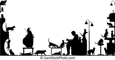 Cat room - Foreground silhouette of a woman in a living room...