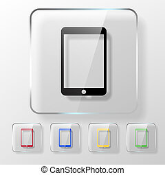 Touch pad icon on a transparent glossy square. Online...