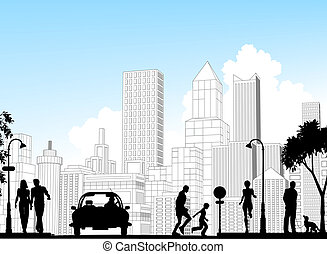 City street - Editable vector silhouette of a busy street...