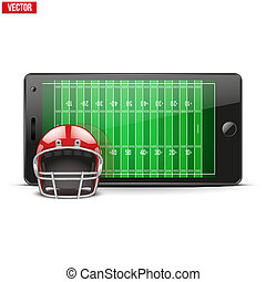 Mobile phone with football helmet and field on the screen...