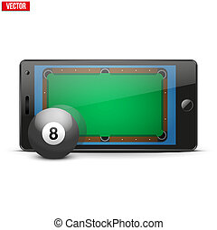 Mobile phone with billiard ball and field on the screen -...