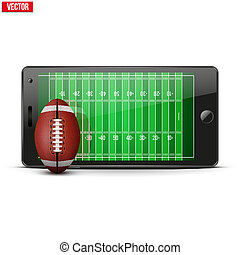 Mobile phone with football ball and field on the screen...