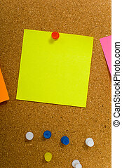 Sticky notes on cork board