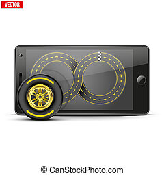 Mobile phone with racing wheel and track on the screen...