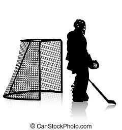 Silhouettes of hockey player. Isolated on white....
