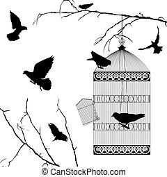 Fyling birds and cage silhouettes
