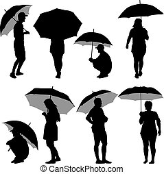 Black silhouettes man and woman under umbrella. Vector...