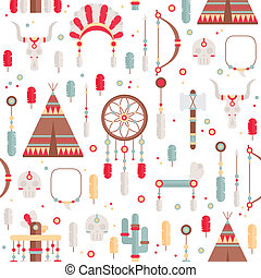 Seamless pattern of vector colorful ethnic set with dream...