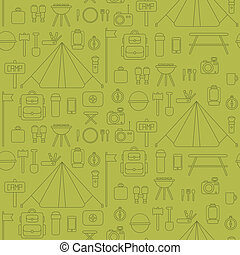 Seamless pattern of flat colorful vector camping equipment...