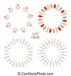 Frame of vector colorful ethnic set with dream catcher,...