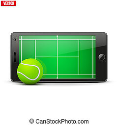 Mobile phone with tennis ball and field on the screen Sports...