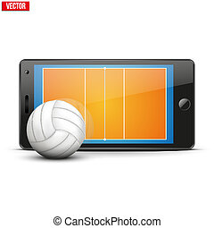 Mobile phone with volleyball ball and field on the screen...