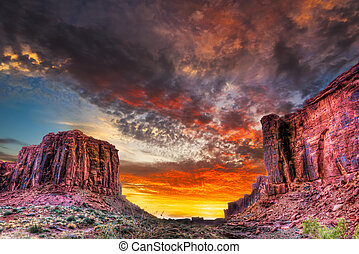 pôr do sol, Utah, deserto