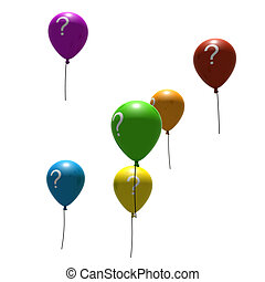 balloons with question-mark - multicolored balloons with...