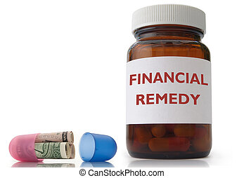 Financial remedy - Open medicine pill with rolled up dollar...