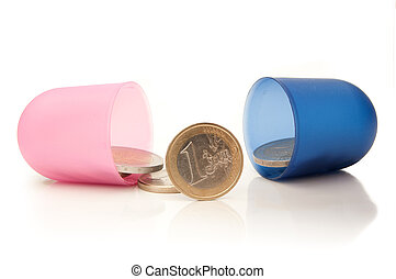 Money pill - Open medicine pill with euro coins inside