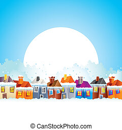 Cartoon houses in winter - background with a caricature of a...