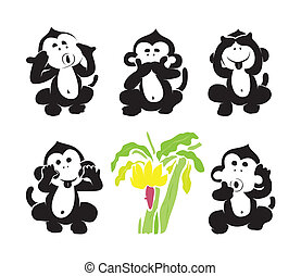 Vector group of monkeys and bananas on white background.