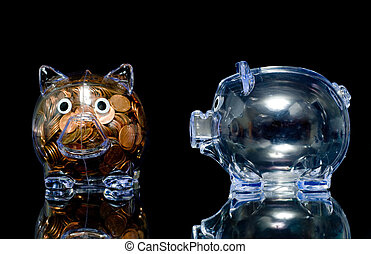 Jealous Pig - Two clear acryllic piggy banks one stuffed...