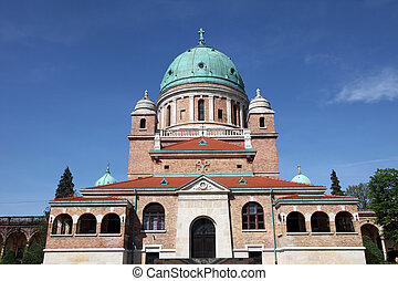 Church of Christ the King, Mirogoj graveyard in Zagreb -...