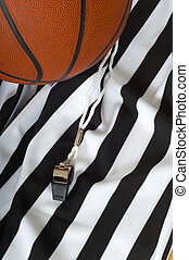 Basketball Referee - A referee jersy with a whistle and a...