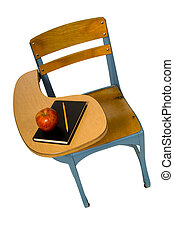 High view of school desk with apple